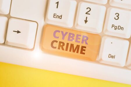 Word writing text Cyber Crime. Business photo showcasing kind of criminal activities carried out by means of Internet White pc keyboard with empty note paper above white background key copy space