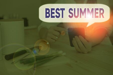 Handwriting text Best Summer. Conceptual photo weather is warmer and analysisy students get a break from school 스톡 콘텐츠 - 133421863