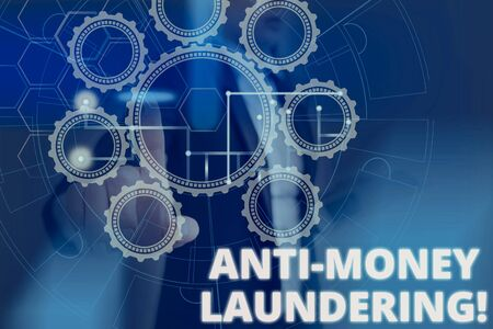 Text sign showing Anti Money Laundering. Business photo text regulations stop generating income through illegal actions Picture photo system network scheme modern technology smart device Stock Photo