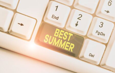 Writing note showing Best Summer. Business concept for weather is warmer and analysisy students get a break from school White pc keyboard with note paper above the white background 스톡 콘텐츠 - 133423202