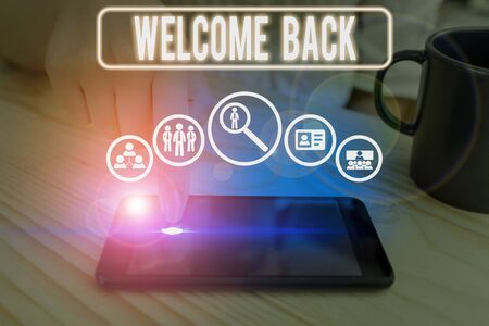 Word writing text Welcome Back. Business photo showcasing something back to greet the return of someone or something Zdjęcie Seryjne