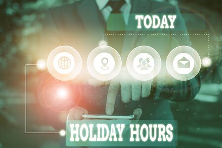 Text sign showing Holiday Hours. Business photo showcasing employee receives twice their normal pay for all hours Picture photo system network scheme modern technology smart device Stockfoto