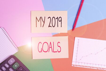 Text sign showing My 2019 Goals. Business photo showcasing setting up demonstratingal goals or plans for the current year Office appliance colorful square desk study supplies empty paper sticker