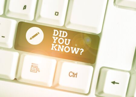 Text sign showing Did You Know Question. Business photo showcasing Fun Facts and Figures Information General Knowledge White pc keyboard with empty note paper above white background key copy space