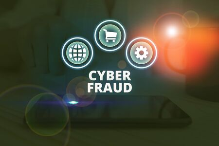 Word writing text Cyber Fraud. Business photo showcasing any crime that is committed with the use of a computer