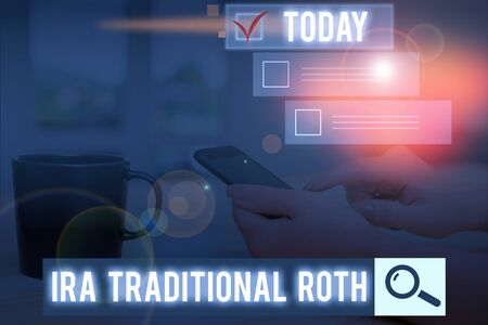 Conceptual hand writing showing Ira Traditional Roth. Concept meaning are tax deductible on both state and federal Stock Photo