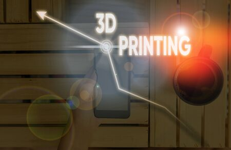 Writing note showing 3D Printing. Business concept for making a physical object from a threedimensional digital model
