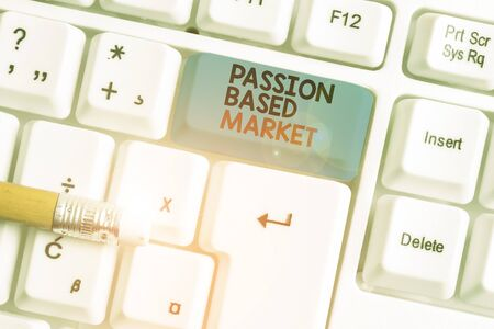 Writing note showing Passion Based Market. Business concept for Emotional Sales Channel a Personalize centric Strategy White pc keyboard with note paper above the white background
