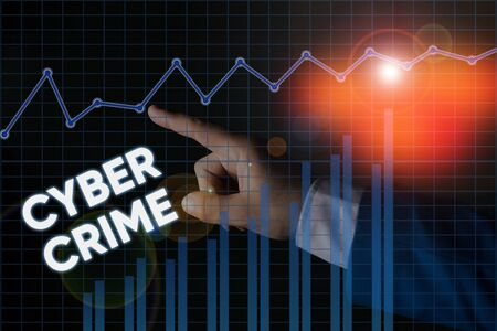 Writing note showing Cyber Crime. Business concept for kind of criminal activities carried out by means of Internet
