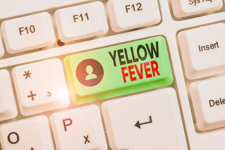 Word writing text Yellow Fever. Business photo showcasing tropical virus disease affecting the liver and kidneys White pc keyboard with empty note paper above white background key copy space