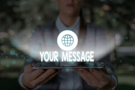 Writing note showing Your Message. Business concept for piece of information or a request that you send to someone Banco de Imagens
