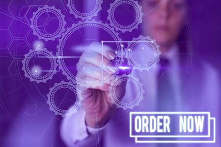 Writing note showing Order Now. Business concept for the activity of asking for goods or services from a company Picture photo network scheme with modern smart device Reklamní fotografie