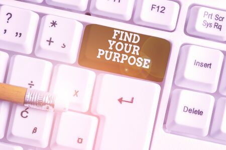 Word writing text Find Your Purpose question. Business photo showcasing reason for something is done or for which exists White pc keyboard with empty note paper above white background key copy space
