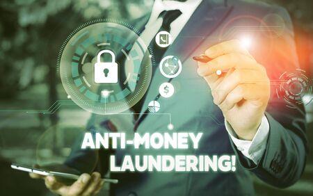 Wort schreiben Text Anti-Geldwäsche. Geschäftsfotos, die Vorschriften präsentieren, stoppen die Generierung von Einnahmen durch illegale Handlungen Bildfotosystem-Netzwerkschema moderne Technologie intelligentes Gerät