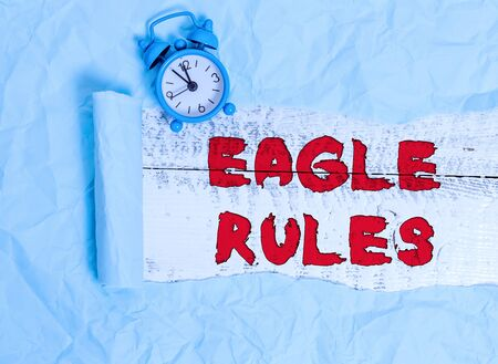 Conceptual hand writing showing Eagle Rules. Concept meaning a huge set of design rules which your layout needs to pass Alarm clock and torn cardboard on a wooden classic table backdrop