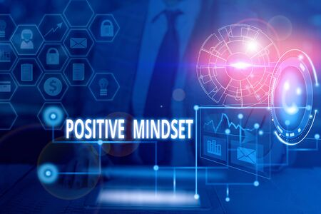 Handwriting text writing Positive Mindset. Conceptual photo mental attitude in wich you expect favorable results Picture photo system network scheme modern technology smart device