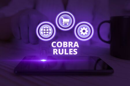 Word writing text Cobra Rules. Business photo showcasing continuing group health insurance coverage after a job loss Stock fotó - 133436885