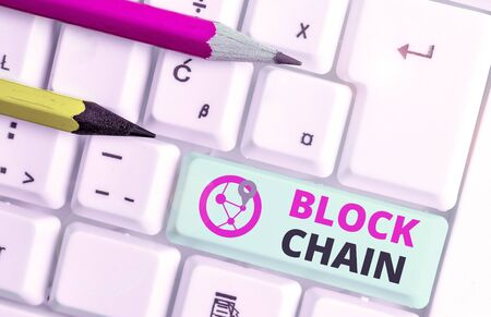Text sign showing Block Chain. Business photo showcasing system in which a record of transactions made in bitcoin