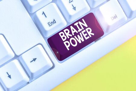 Word writing text Brain Power. Business photo showcasing Ability to comprehend To understand and profit from experience White pc keyboard with empty note paper above white background key copy space