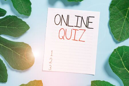 Conceptual hand writing showing Online Quiz. Concept meaning game or a mind sport that are published on the Internet Leaves surrounding notepaper above empty soft pastel table Stockfoto
