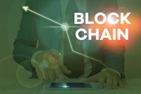 Word writing text Block Chain. Business photo showcasing system in which a record of transactions made in bitcoin