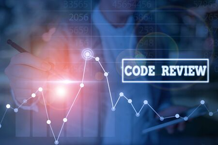Word writing text Code Review. Business photo showcasing single most effective technique for identifying security flaws