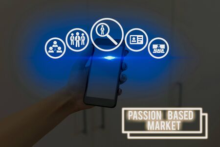 Text sign showing Passion Based Market. Business photo showcasing Emotional Sales Channel a Personalize centric Strategy