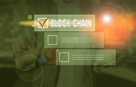 Conceptual hand writing showing Block Chain. Concept meaning system in which a record of transactions made in bitcoin
