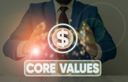Word writing text Core Values. Business photo showcasing the fundamental beliefs or principle of a demonstrating or organization