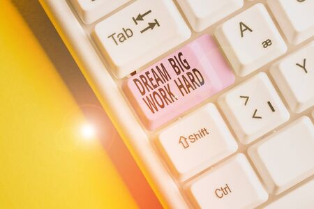 Text sign showing Dream Big Work Hard. Business photo showcasing Believe in yourself and follow the dreams and goals White pc keyboard with empty note paper above white background key copy space