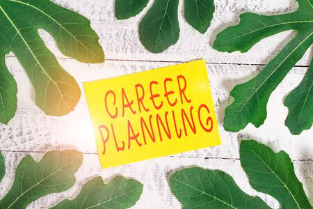 Conceptual hand writing showing Career Planning. Concept meaning Strategically plan your career goals and work success Leaves surrounding notepaper above a classic wooden table Reklamní fotografie