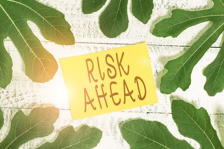 Conceptual hand writing showing Risk Ahead. Concept meaning A probability or threat of damage, injury, liability, loss Leaves surrounding notepaper above a classic wooden table Standard-Bild - 133485246