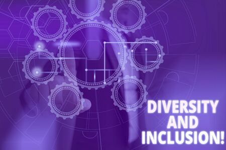 Text sign showing Diversity And Inclusion. Business photo text range huanalysis difference includes race ethnicity gender Picture photo system network scheme modern technology smart device