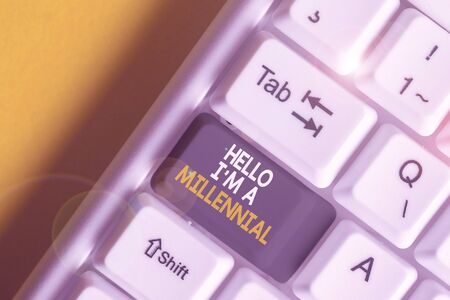 Handwriting text Hello I M A Millennial. Conceptual photo demonstrating reaching young adulthood in current century White pc keyboard with empty note paper above white background key copy space