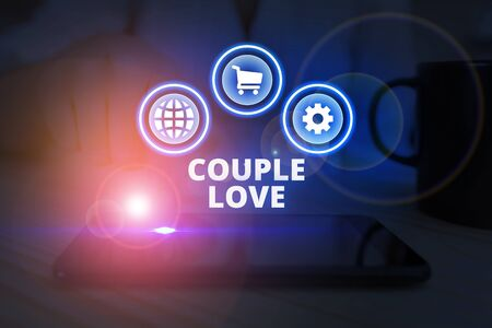 Word writing text Couple Love. Business photo showcasing two showing who love each other very much Feeling pleasure