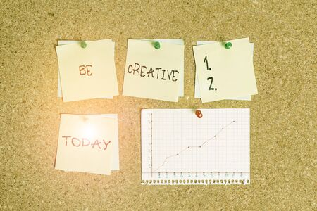 Conceptual hand writing showing Be Creative. Concept meaning involving the use of the imagination to create something Corkboard size paper thumbtack sheet billboard notice board