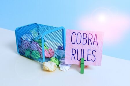 Conceptual hand writing showing Cobra Rules. Concept meaning continuing group health insurance coverage after a job loss Trash bin crumpled paper clothespin reminder office supplies Stock fotó - 133486821
