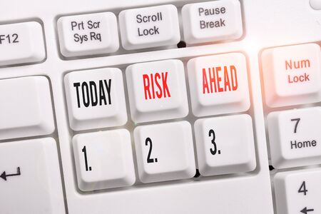 Word writing text Risk Ahead. Business photo showcasing A probability or threat of damage, injury, liability, loss White pc keyboard with empty note paper above white background key copy space Standard-Bild - 133486829