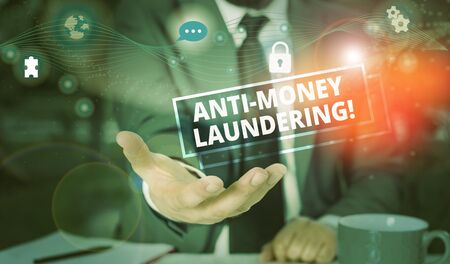 Handwriting text Anti Money Laundering. Conceptual photo regulations stop generating income through illegal actions Picture photo system network scheme modern technology smart device