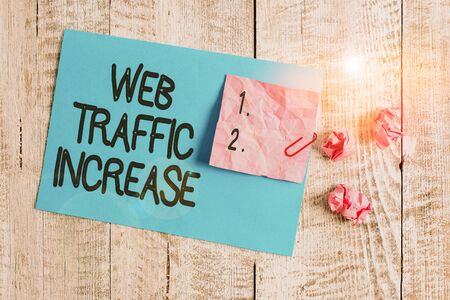 Word writing text Web Traffic Increase. Business photo showcasing Expand Visitors to a Website a number of Visits Wrinkle paper and cardboard plus stationary placed above wooden background