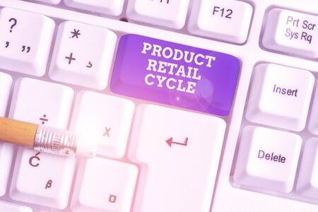 Conceptual hand writing showing Product Retail Cycle. Concept meaning as brand progresses through sequence of stages White pc keyboard with note paper above the white background