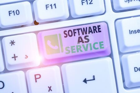 Conceptual hand writing showing Software As Service. Concept meaning On Deanalysisd licensed on Subscription and centrally hosted Stock Photo