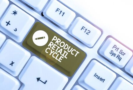 Text sign showing Product Retail Cycle. Business photo text as brand progresses through sequence of stages White pc keyboard with empty note paper above white background key copy space