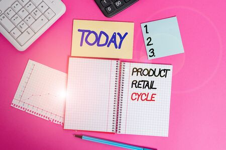 Text sign showing Product Retail Cycle. Business photo showcasing as brand progresses through sequence of stages Writing equipments and computer stuffs placed above classic wooden table Stock Photo