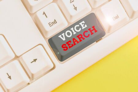 Word writing text Voice Search. Business photo showcasing allows the user to use a voice comanalysisd to search the Internet White pc keyboard with empty note paper above white background key copy space