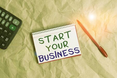 Word writing text Start Your Business. Business photo showcasing going into a New Venture Create New Product Services Papercraft craft paper desk square spiral notebook office study supplies