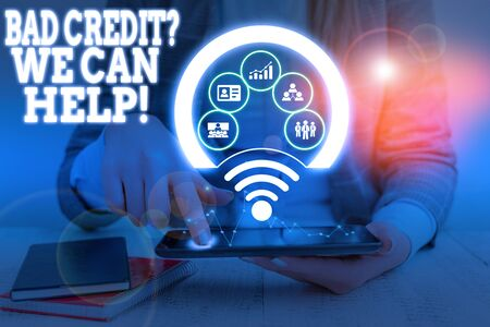 Word writing text Bad Credit Question We Can Help. Business photo showcasing offering help after going for loan then rejected Picture photo system network scheme modern technology smart device
