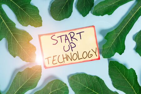 Text sign showing Start Up Technology. Business photo showcasing Young Technical Company initially Funded or Financed Leaves surrounding notepaper above an empty soft pastel table as background 스톡 콘텐츠