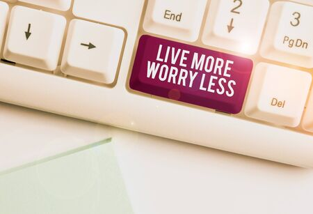 Text sign showing Live More Worry Less. Business photo text Have a good attitude motivation be careless enjoy life White pc keyboard with empty note paper above white background key copy space