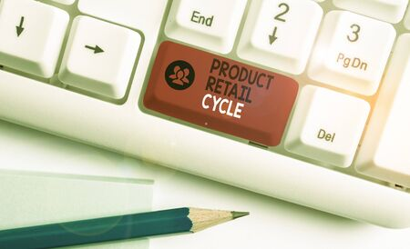 Writing note showing Product Retail Cycle. Business concept for as brand progresses through sequence of stages White pc keyboard with note paper above the white background